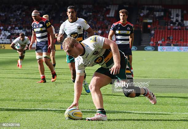 Mikey Haywood of Northampton scores their fourth and bonus point try during the Aviva Premiership match between Bristol and Northampton Saints at...