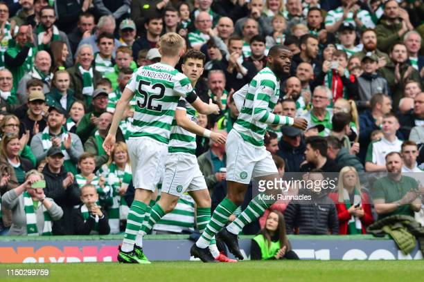 Mikey Johnston of Celtic celebrates with Ewan Henderson as he scores his team's first goal during the Ladbrokes Scottish Premiership match between...
