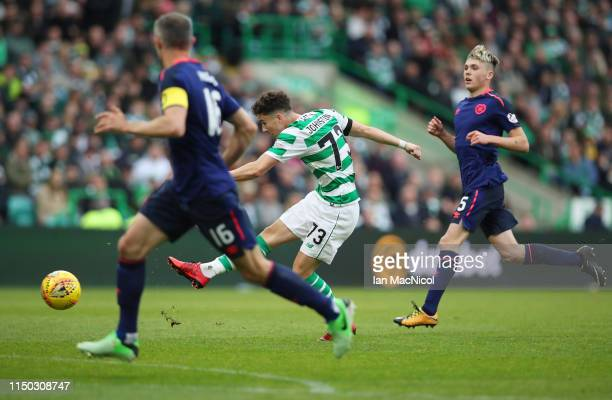 Mikey Johnston of Celtic scores his team's second goal during the Ladbrokes Scottish Premiership match between Celtic and Hearts at Celtic Park on...