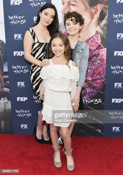 Mikey Madison Olivia Edward and Hannah Alligood attend the FYC event for FX's Better Things at Saban Media Center on April 19 2018 in North Hollywood...