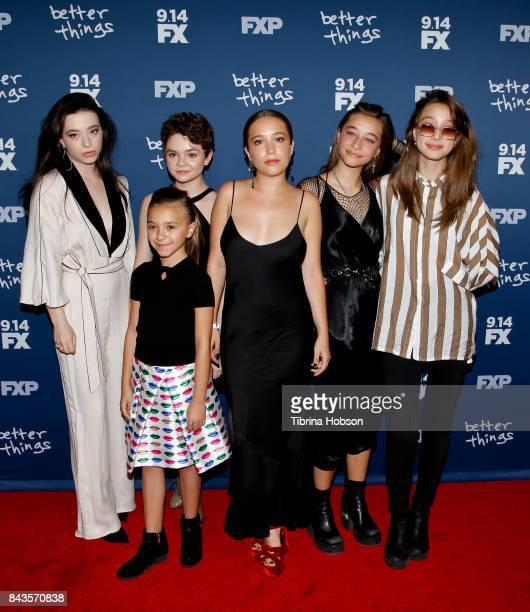 Mikey Madison Olivia Edward Hannah Alligood Gideon Adlon Odessa Adlon and Rocky Adlon attend the premiere of FX's 'Better Things' season 2 at Pacific...