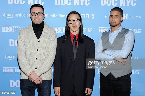 """Mikey McQuay Jr., Kelvin Truong and Robbie Justino attend the New York premiere of """"Swim Team"""" at DOC NYC on November 17, 2016 in New York City."""