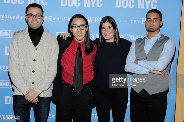 """Mikey McQuay Jr., Kelvin Truong, Lara Stolman and Robbie Justino attend the New York premiere of """"Swim Team"""" at DOC NYC on November 17, 2016 in New..."""