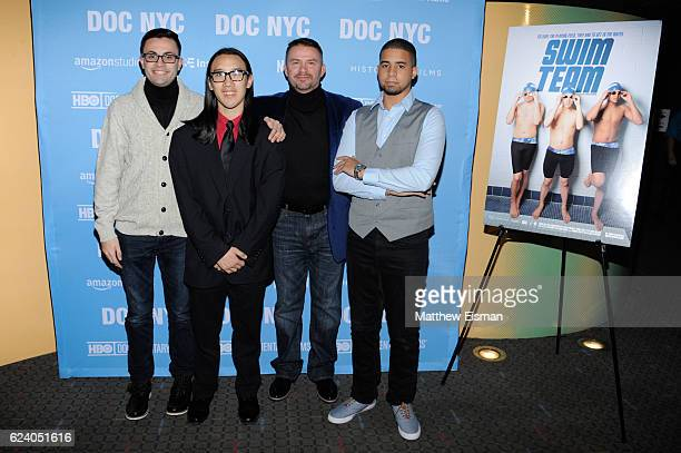 """Mikey McQuay Jr., Kelvin Truong, Mike McQuay and Robbie Justino attend the New York premiere of """"Swim Team"""" at DOC NYC on November 17, 2016 in New..."""