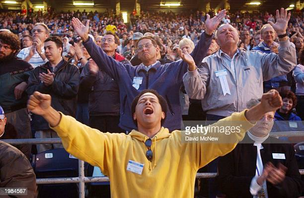 Mikey Morales worships Jesus during the last mission to California for America's best known evangelist 84yearold Billy Graham on May 8 2003 to San...
