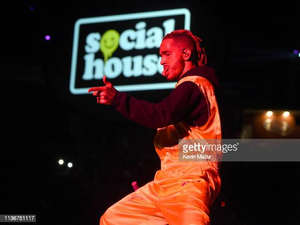 Mikey of Social House performs onstage during the Ariana Grande Sweetener World Tour Opening Night at Times Union Center on March 18 2019 in Albany...