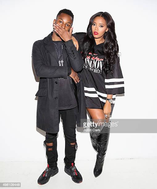 Mikey Trapstar and Angela Simmons pose backstage at the Trapstar London 'Invasion For Peace' US Launch at 201 Mulberry Street on November 20 2015 in...