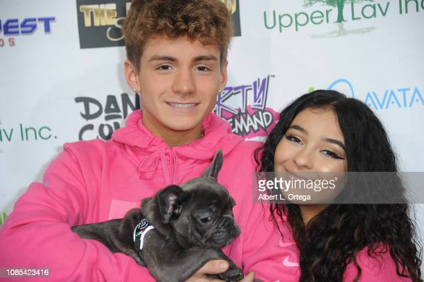 Mikey Tua and Dani Cohn posewith Blue at Danielle Cohn's Music Video Release Party For Lights Camera Action held at Starwest Studios on January 19...