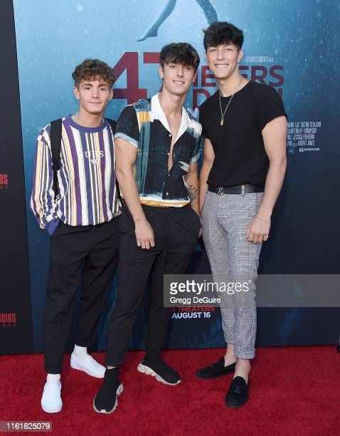 Mikey Tua Bryce Hall and Tayler Holder arrive at the LA Premiere Of Entertainment Studios' 47 Meters Down Uncaged at Regency Village Theatre on...