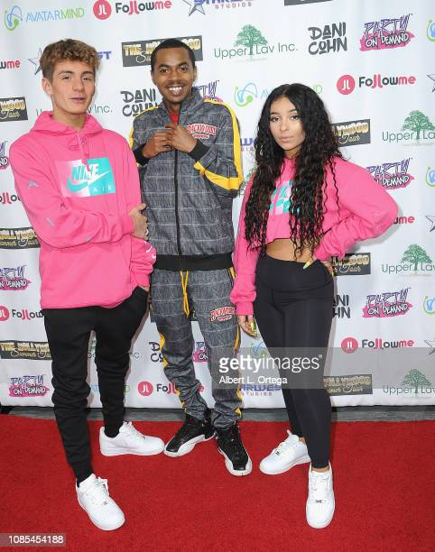 Mikey Tua Ybn Lile and Dani Cohn attend Danielle Cohn's Music Video Release Party For Lights Camera Action held at Starwest Studios on January 19...