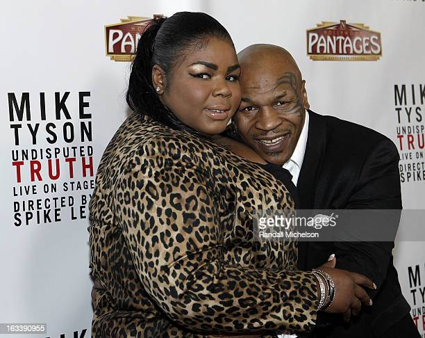 "Mikey Tyson and Mike Tyson attend the Los Angeles Premiere of ""Mike Tyson - Undisputed Truth"" at the Pantages Theatre on March 8, 2013 in Hollywood,..."