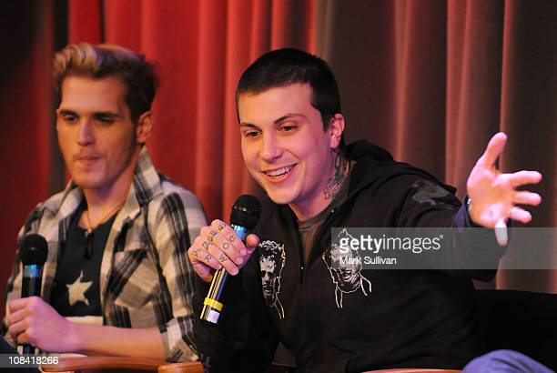 Mikey Way and Frank Iero of My Chemical Romance during American Express Presents My Chemical Romance at The GRAMMY Museum on January 26 2011 in Los...