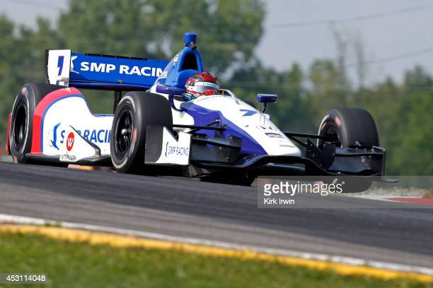 Mikhail Aleshin of Russia drives the Schmidt Peterson Motorsports Dallara Honda during warmup for the Verizon IndyCar Series Honda Indy 200 at...