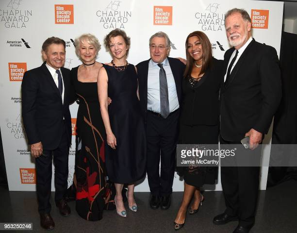 Mikhail Baryshnikov Helen Mirren Lisa Rinehart Robert De Niro Grace Hightower and Taylor Hackford attend the 45th Chaplin Award Gala at Alice Tully...