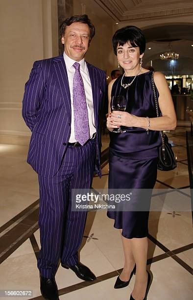 Mikhail Borshchevsky with Olga Borshchevskaya arrive at the launch of the Four Seasons Hotel Baku on November 17 2012 in Baku Azerbaijan