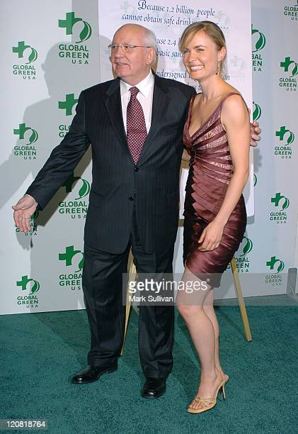 Mikhail Gorbachev and Radha Mitchell during Mikhail Gorbachev and Global Green Announce Awards for Contribution to the Environment at Beverly Hills...