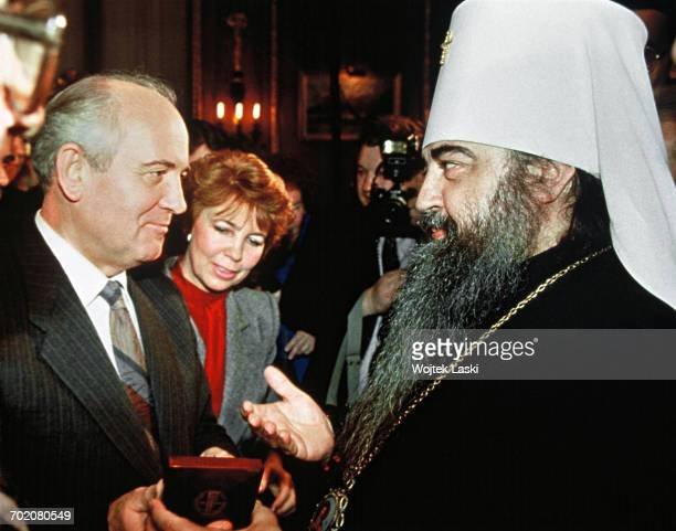 Mikhail Gorbachev and Raisa Gorbacheva meet with Russian Orthodox bishop Filaret Moscow Russia March 1988