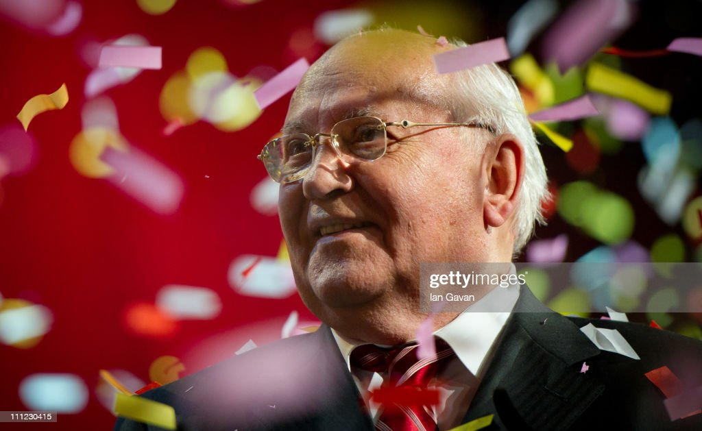 Mikhail Gorbachev appears on stage during the finale of the Gorby 80 Gala at the Royal Albert Hall on March 30, 2011 in London, England. The concert is to celebrate the 80th birthday of the former Soviet leader Mikhail Gorbachev.
