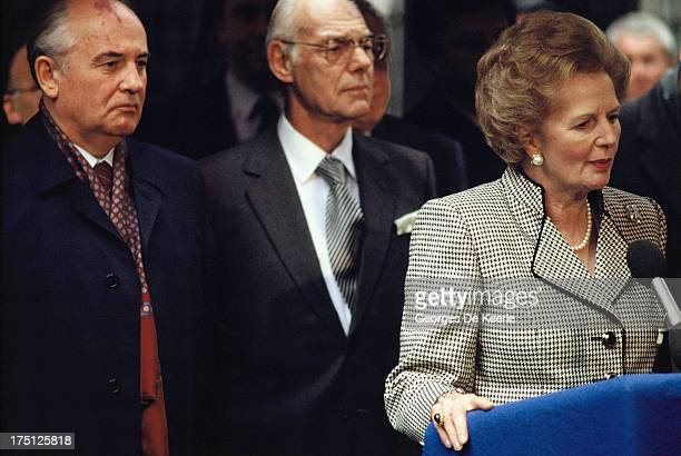 Mikhail Gorbachev Denis Thatcher and Margaret Thatcher during an official visit of the Russian leader to London on April 6 1989 in London England