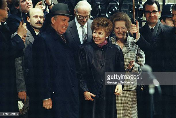 Mikhail Gorbachev Denis Thatcher Raisa Gorbachova and Margaret Thatcher during an official visit of the Russian leader to London on April 6 1989 in...