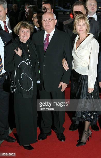 Mikhail Gorbachev former president of the Soviet Union his daughter Irina Virganskaya and Marianne De Maizierre attend the Quadriga Awards 2005 at...