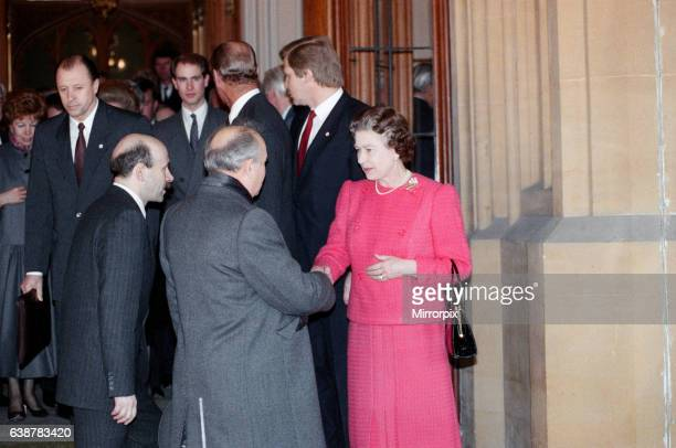 Mikhail Gorbachev General Secretary of the Central Committee of the Communist Party of the Soviet Union visiting the Queen at Windsor Castle 7th...