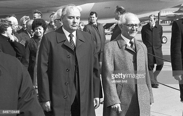Mikhail Gorbachev General Secretary of the Communist Party of the Soviet Union arriving for a visit to East Berlin from left Gorbachev and Erich...