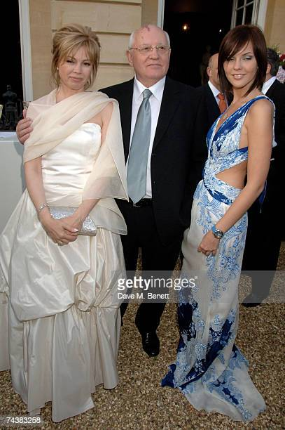Mikhail Gorbachev his daughter Irina Virganskaya and granddaughter Anastasia Virganskaya arrive at the Raisa Gorbachev Foundation Party at the...