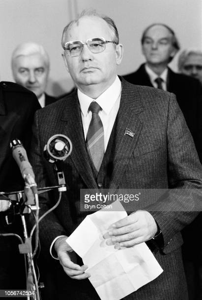 Mikhail Gorbachev, Russian Politburo member and second in line at the Kremlin, announces the death of Soviet Defence Minister Marshal Dmitri Ustinov,...