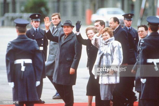 Mikhail Gorbachev, Russian Politburo member and second in line at the Kremlin, with his wife Raisa Gorbachev, and Margaret Thatcher, U.K. Prime...
