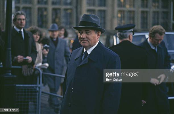 Mikhail Gorbachev Russian Politburo member and second in line at the Kremlin arrives outside Westminster Abbey in London UK on Tuesday December 18...