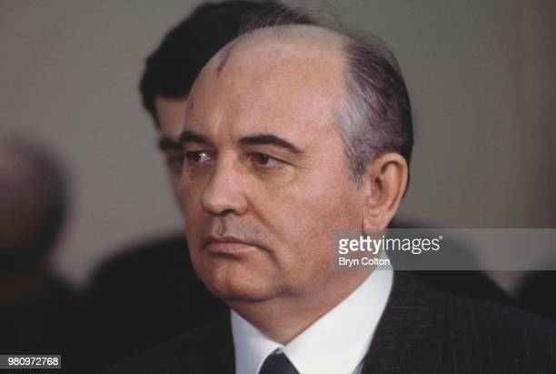 Mikhail Gorbachev Russian Politburo member and second in line at the Kremlin listens during a welcome speech in the Palace of Westminster the House...