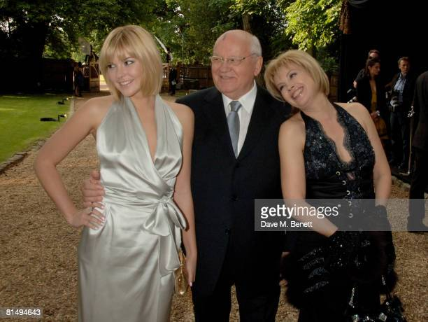 TIME Mikhail Gorbachev with daughter Irina Virganskaya and granddaughter Anastasia Virganskaya arrive at the Raisa Gorbachev Foundation Party at the...