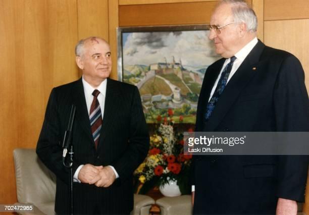 Mikhail Gorbachev's visit to West Germany. Pictured: Mikhail Gorbachev and German chancellor Helmut Kohl. Bonn, West Germany, on 4th March 1992.
