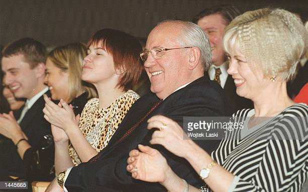Mikhail Gorbachov celebrates his 70th birthday March 2 2001 with his daughter Irina right and two grandaughters Nastya and Kseniya at a concert in...