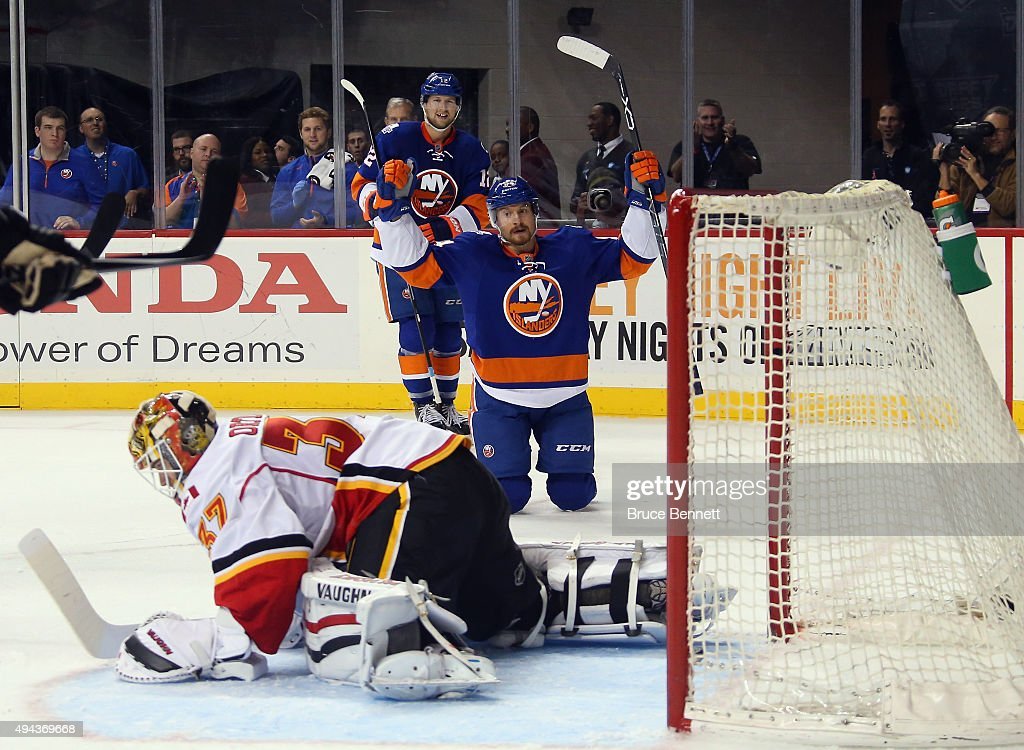 Mikhail Grabovski #84 of the New York Islanders celebrates his powerplay goal at 14:01 of the second period against Joni Ortio #37 of the Calgary Flames at the Barclays Center on October 26, 2015 in the Brooklyn borough of New York City.