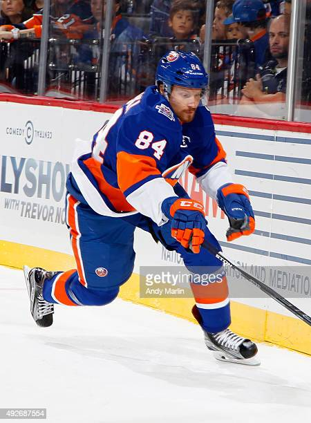 Mikhail Grabovski of the New York Islanders skates against the Winnipeg Jets during the game at the Barclays Center on October 12 2015 in Brooklyn...