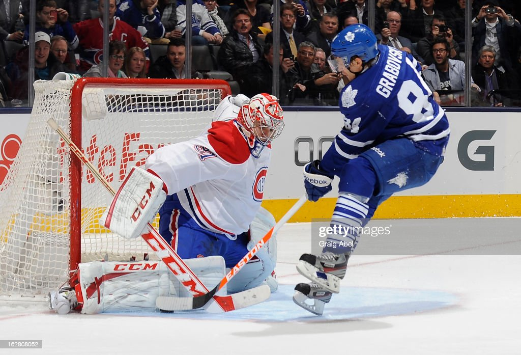 Mikhail Grabovski #84 of the Toronto Maple Leafs is stopped on a penalty shot by Carey Price #31 of the Montreal Canadiens during NHL game action February 27, 2013 at the Air Canada Centre in Toronto, Ontario, Canada.