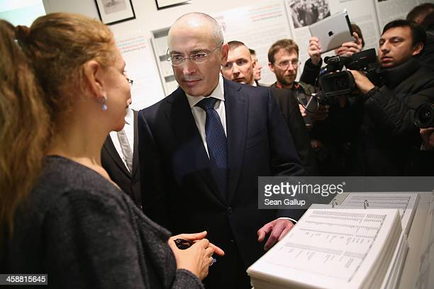 Mikhail Khodorkovsky the former Yukos oil company chairman who was charged with embezzlement and tax evasion tours the MauerMuseum am Checkpoint...