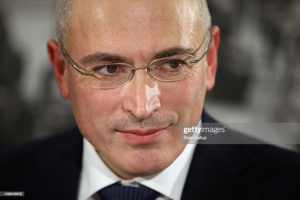 Mikhail Khodorkovsky, the former Yukos oil company chairman who was charged with embezzlement and tax evasion, speaks to the media at his first press conference since his release from a Russian prison two days before on December 22, 2013 in Berlin, Germany. Khodorkovsky flew to Berlin and was received by former German Foreign Minister Hans-Dietrich Genscher and has also been reunited with his family. Khodorkovsky spent 10 years in prison until his unexpected pardon by Russian President Vladimir Putin.