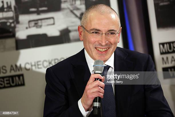 Mikhail Khodorkovsky the former Yukos oil company chairman who was charged with embezzlement and tax evasion speaks to the media at his first press...