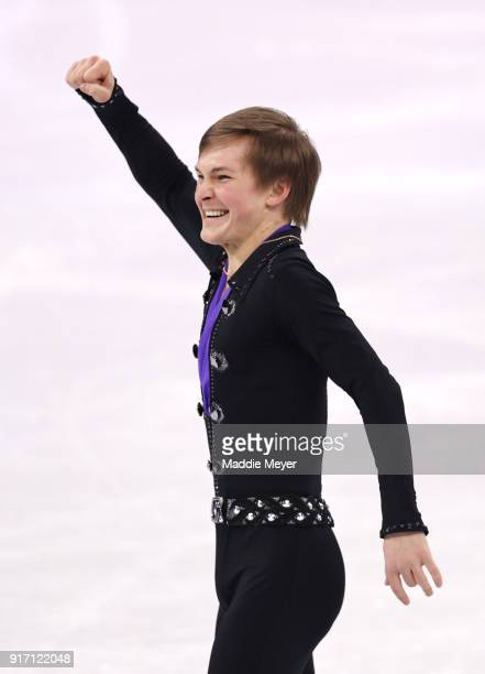 Mikhail Kolyada of Olympic Athlete from Russia celebrates after competing in the Figure Skating Team Event Men's Single Free Skating on day three of...