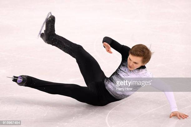 Mikhail Kolyada of Olympic Athlete from Russia falls while competing in the Figure Skating Team Event Men's Single Skating Short Program during the...