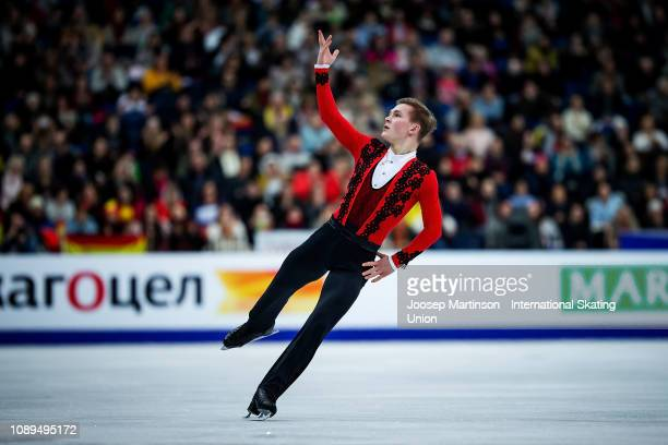Mikhail Kolyada of Russia competes in the Men's Free Skating during day four of the ISU European Figure Skating Championships at Minsk Arena on...