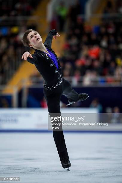 Mikhail Kolyada of Russia competes in the Men's Free Skating during day three of the European Figure Skating Championships at Megasport Arena on...