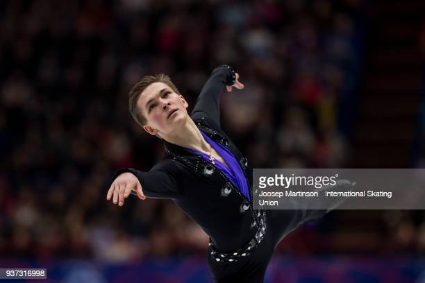 Mikhail Kolyada of Russia competes in the Men's Free Skating during day four of the World Figure Skating Championships at Mediolanum Forum on March...