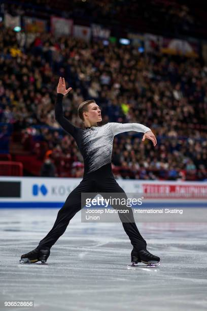Mikhail Kolyada of Russia competes in the Men's Short Program during day two of the World Figure Skating Championships at Mediolanum Forum on March...
