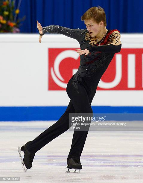 Mikhail Kolyada of Russia performs during the Men Free Skating on day two during the ISU European Figure Skating Championships 2016 on January 28...