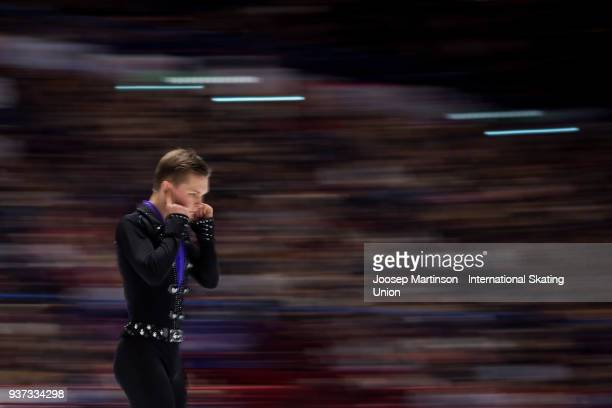Mikhail Kolyada of Russia prepares in the Men's Free Skating during day four of the World Figure Skating Championships at Mediolanum Forum on March...