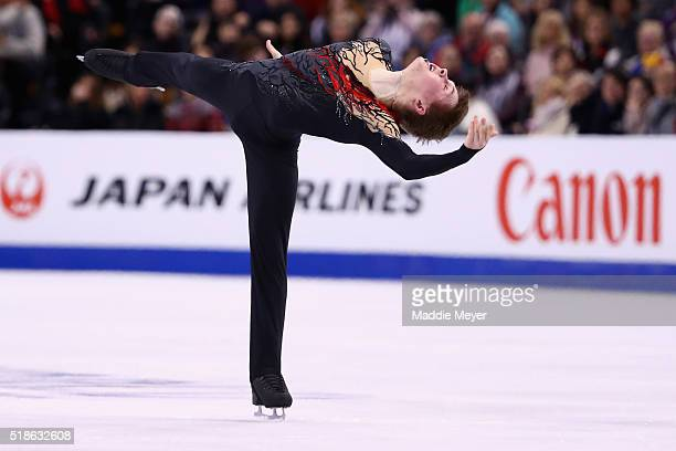 Mikhail Kolyada of Russia skates in the Men's Free Skate program during Day 5 of the ISU World Figure Skating Championships 2016 at TD Garden on...